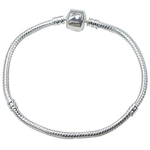 niceEshop(TM) Pandora Snake Chain Bead Barrel Clasp Bracelet (Silver,19cm)