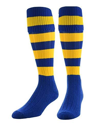 TCK 4 Stripe Hoop Soccer Rugby Socks (Royal/Gold, Large)