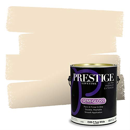 Prestige Paints Exterior Paint and Primer In One, 1-Gallon, Semi-Gloss, Comparable Match of Sherwin Williams* Vanillin*
