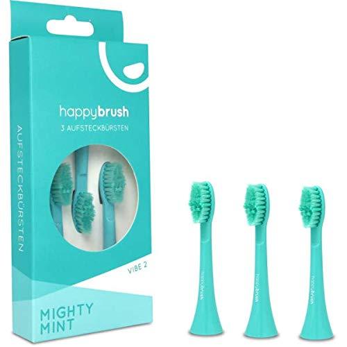 happybrush Aufsteckbürsten Schall Mighty Mint Vibe 2 Ersatzbürsten für Schallzahnbürste, 3 Aufsteckbürsten V2, türkis