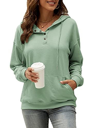 HESUUIO Sudadera con capucha para mujer, cuello en V, con botones, escote de pico, manga larga, estilo informal, verde menta, M