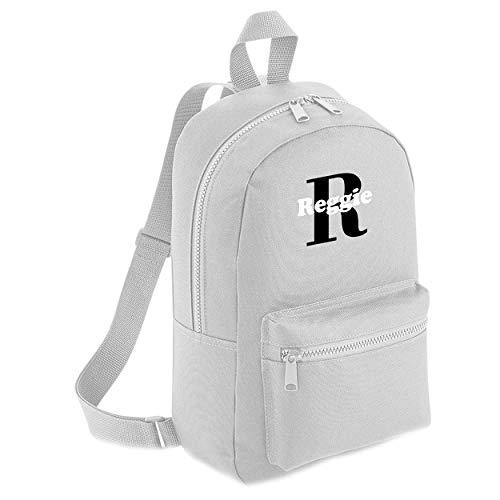 Customised Name Initial Personalised Name Backpack Kids Childrens School Backpack Bag Boys Cute Rucksack Bags Pens Toddler Nursery Gym Black White Kid (Mini Backpack, Grey)