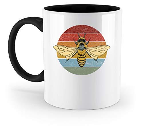 Retro abeja – Vintage apicultura de huevo cría regalo Cool Divertidos Cumpleaños Animales Amigos – Taza bicolor, Cerámica, Negro , 33 0ml