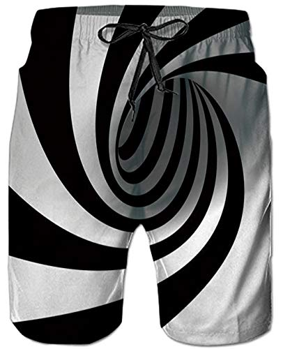 TUONROAD Herren Badehose Sommer Badeshorts 3D Strudel Print Grafik Strand Surf Board Shorts M