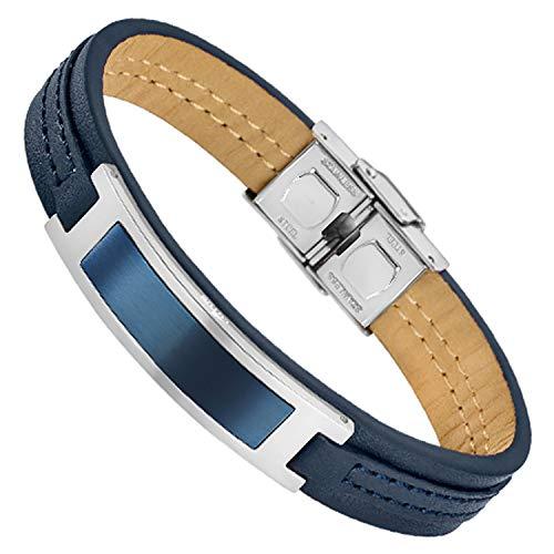 Lotus Bracelet Homme Cuir et Acier Bleu Marine