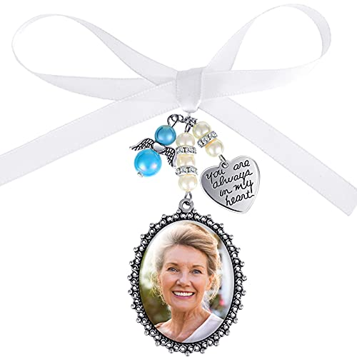 Wedding Bouquet Charm Lacy Oval Bridal Charm Bridal Bouquet Charm Bride Angel Charm Memorial Photo Charm You are Always in My Heart Charm Something Blue for Bridal Shower Bachelor Party Wedding