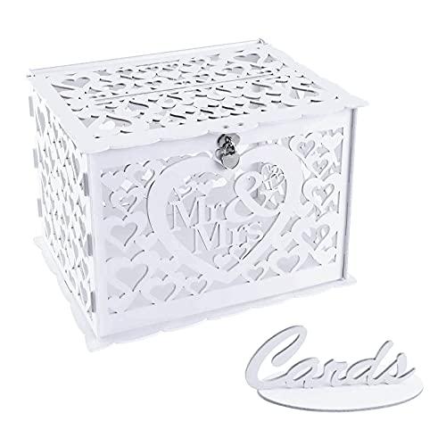 Benjia Scatola per biglietti regalo per matrimonio, vintage, grande, in legno, con serratura per matrimonio, compleanno, colore: bianco