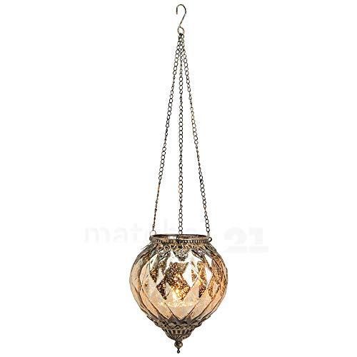 matches21 Hänge Windlicht Teelichtglas Kerzenglas Orientalisch Gold antik Glas/Metall Vintage - 2 Größen zur Auswahl - 19 cm