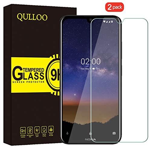 QULLOO per Nokia 2.2 Vetro Temperato Pellicola Protettiva, [2 Pezzi] 9H Durezza Full Coverage Protezione Schermo in Vetro Temperato per Nokia 2.2