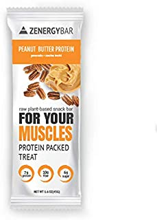 Peanut Butter Protein Zenergy Bar – Low Sugar Health Bar - Nuts Protein Nutrition Chocolate Bar – Organic Plant Based Gluten Free Breakfast Energy Snack Bar for Your Muscles (Box of 10) Vegan
