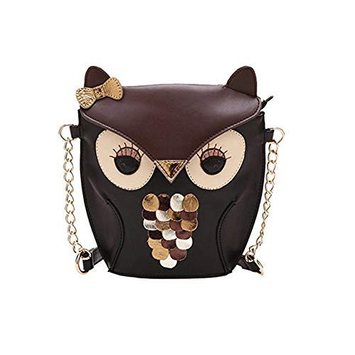 Mini-Eule Einzel-Umhängetasche Retro Karikatur PU-Kreuz-Körper-Handtaschen-Art- und Weiseeulen-Beutel-Mappen beiläufige Owl Ranzen für Frauen 1pc