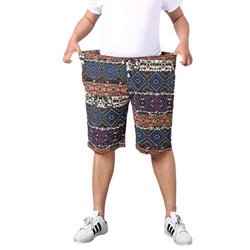 Herren Sommer Board Kurze Freizeit Drucken Hose Shorts Übergröße Mode Marken Ethno Style Kurz Pant Badeshorts Männer Nner (Color : Blau, Size : 4XL)