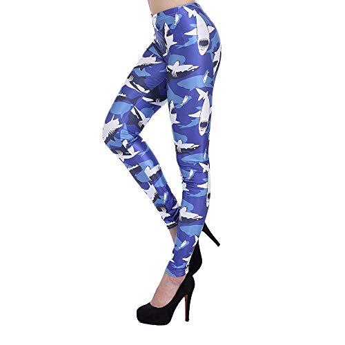 GHC Yogahosen & Fitnesshosen 3D Printed Leggins Yoga Hose Strumpfhose for die Frau, Blauer Hai reizvolle Gamaschen, Sport Fitness Gamaschen Größe: S, M, L, XL (Farbe : Blue, Size : M)