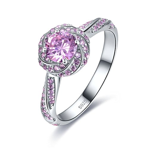 Merthus 925 Sterling Silver Created Pink Topaz Double Halo CZ Engagement Women Swirl Solitaire Promise Ring for Her Amethyst Pink Sapphire Ring