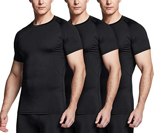 TSLA Men's Cool Dry Short Sleeve Compression Shirts, Athletic Workout Shirt, Active Sports Base Layer T-Shirts, Active 3pack(mub20) - Black/Black/Black, Small