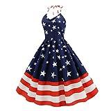 VALICLUD Vestido del Día de La Independencia Ropa sin Mangas Estampada con Rayas de Estrellas para El 4 de Julio Suministros para Fiestas del Día Nacional (Talla XL)