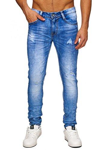 Pantalones vaqueros elásticos para hombre Destruido Denim ácido H1756, Farben:azul, Größe-Jeans:W33 (Etikett 48)