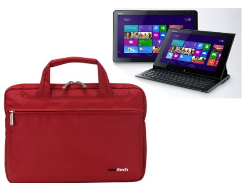 Navitech Rubin rote Premium Wasser wiederständige Shock sichere Ultrabook/Laptop/Tablet trage Tasche/Case speziell für das Sony Vaio 11 Duo Windows 8 Tablet