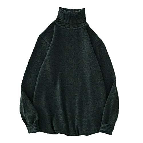 Los hombres de punto solapa de manga larga cuello alto cuello alto color sólido suéter regular para hombres invierno cuello alto