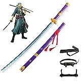 One Piece Roronoa Zoro COS Espada de madera Ninja Blade Armas Modelo de utilería con cinturón/Soporte de hoja/Mochila Anime Lovers Katanas Props Decorativos ABS Juguetes (100cm / 39in)