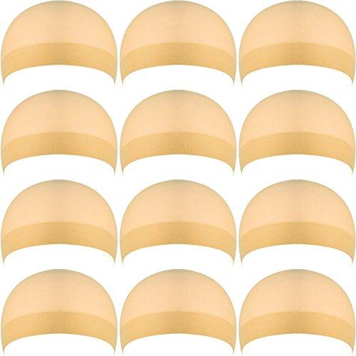 12 Stück Nylon Perück Kappe, Natürlich Beige Perücke Kappe, Kappe Perück für Frauen und Männer