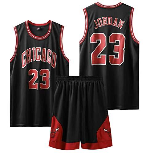 HUAXUN Chicago Bulls Jorden # 23 , Trajes de Ropa Deportiva para ni?os, Uniformes de Entrenamiento, Uniformes de Baloncesto de Deporte (Negro, S)
