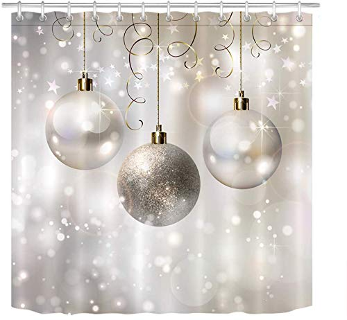 LB Christmas Shower Curtain Set Silver Xmas Balls Winter Bathroom Curtain with Hooks 72x72 inch Waterproof Polyester Fabric Bathtub Curtain