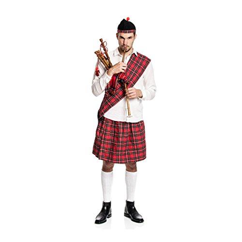 Kostümplanet® Schotten-Kostüm Herren Kilt + Mütze + Schärpe Schotte Faschings-Kostüm große Größe 60/62