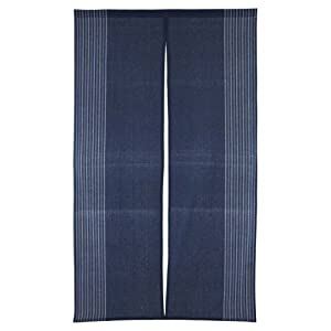 Fukui Textile Factory Vertical Stripe Navy Blue Cotton Cloth Japanese Noren Curtain Tapestry Long Size (Navy…