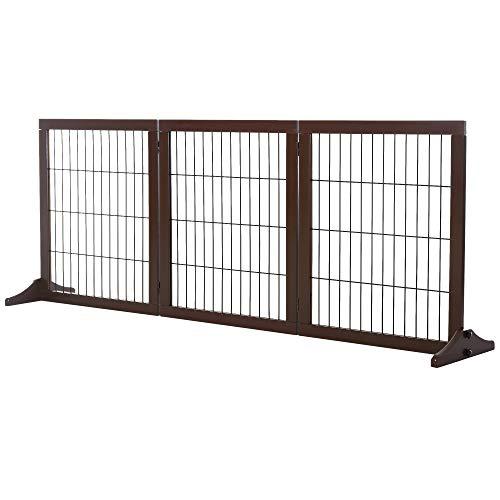 Pawhut Cancelletto Pieghevole e Regolabile in Legno di Pino e Metallo con Base Stabile, per Cani e Cuccioli, 185x36x71cm
