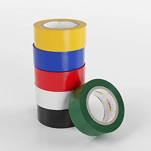 HEITECH PVC Isolierbänder 6er Pack - Isolierband 19 mm x 5 m in 6 verschiedenen Farben - 6 Rollen Elektro Isolierband - Isoband Elektriker Klebeband - Dichtungsband
