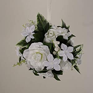 VERITS Supplier for Kissing Ball 6″ Pomander Gardenia Rose Wedding Silk Flowers 00249880001 White Veryn Supplier for Home Décor Craft Ribbon