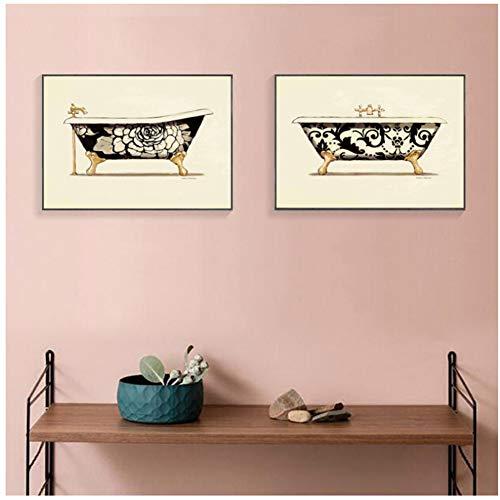 Badkuip, bad kunstdruk, vintage, wanddecoratie, retro, kleurrijk, kamerwand, decoratieve schilderijen, druk op canvas, 60 x 80 cm x 2 stuks, geen frame