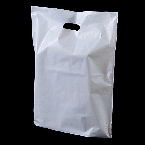White Patch Handle 25 x Plastic Bags - 15 cm x 18 cm x 3 cm