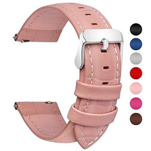 Fullmosa 7 Farben Für Uhrenarmband, Echtes Kalbsleder Uhrarmband für Mann Frau Bambus Muster Lederarmband mit Edelstahl Metall Schließe 20mm,Dunkelrosa