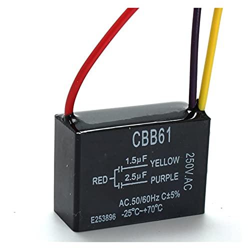 DONGMAI Condensadores 1pc Black Fan Capacitor CBB61 1.5UF + 2.5UF 3 Cables AC 250V 50 / 60Hz Capacitor para Ventilador de Techo