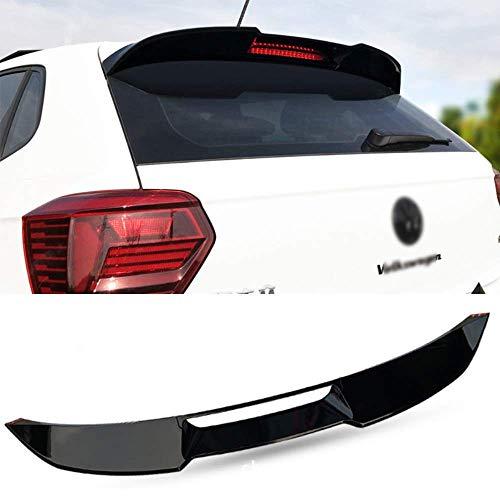 XTT Adatto per VW Polo Inoltre 2019 Black Gloss ABS Materiale Volkswagen Top alettone Posteriore Spoiler, Adesivo di 3M e Facile Installazione