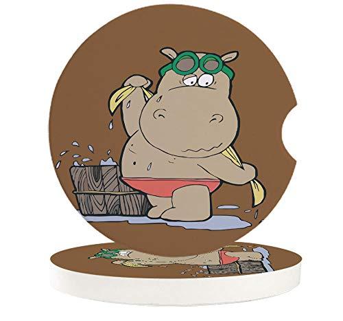 JHLP 2 4 6 Uds hipopótamo Gafas de baño Posavasos de Coche cerámica Taza para Beber Alfombrilla para Taza de té para decoración del Coche en casa-6_PCS