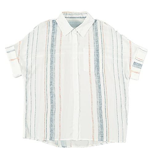 N\P Blusa de verano de las mujeres a rayas con cuello en V de un solo pecho suelta camisa de manga corta, naranja, S