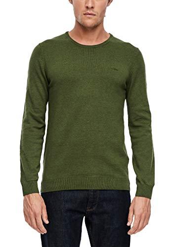 s.Oliver Herren Pullover mit Logo-Stitching olive melange L