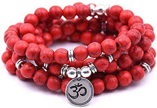 huangshuhua Encanto de Piedra Natural Mujeres Hombres Om Pulsera 108 Mala Yoga Lotus Collar de joyería Mate