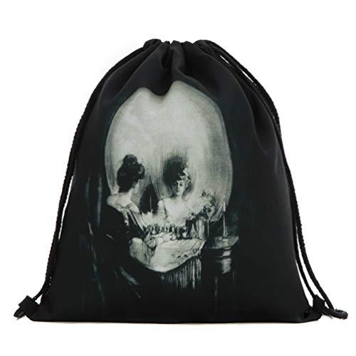 TENDYCOCO Kordelzug Rucksack Tasche Halloween schädel gedruckt einkaufs Aufbewahrungstasche für zu Hause schulreisen