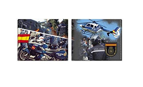 Cartera POLICIA 11x9,5 cm Impresa con Grabado de Cuerpo Nacional POLICIA para Regalo, Monedero, Cartera de Hombre y Mujer Albainox 34953 + Portabotellas de Regalo