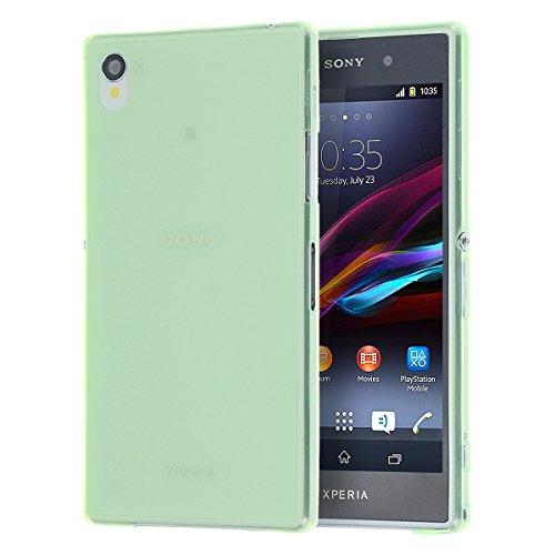 doupi UltraSlim Custodia per Sony Xperia Z1 (5 Pollici), Satinato fine Piuma Facile Mat Semi Trasparente Cover, Verde