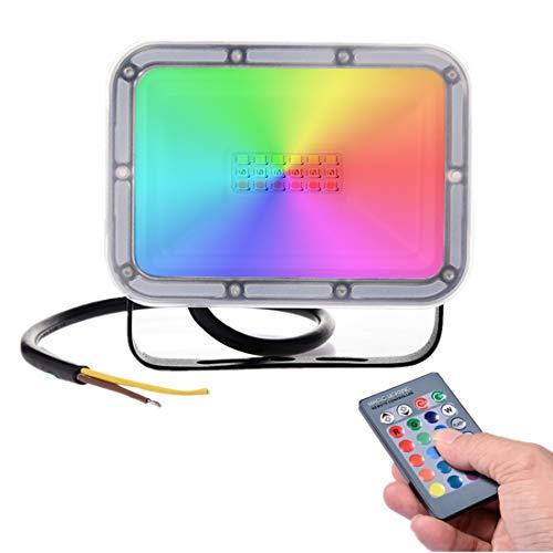 10W Faretto LED da Esterno RGB con Telecomando,16 Colori e 4 Modalità, Illuminazione del paesaggio con Funzione di Memoria 800lm IP66 Impermeabile Proiettore LED per Giardino palcoscenico Festa