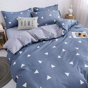 Bishilin Duvet Cover Set,Bed Sheet Set 4 Piece,Fabric Bed Set For Your Family Zipper Closure, Breathable, Blue Bedding Covers, Triangle Duvet Cover Bedding Set With Pillowcase