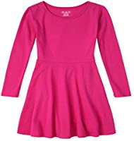 The Children's Place Girls' Long Sleeve Pleated Dress, AURORA PINK, 16T