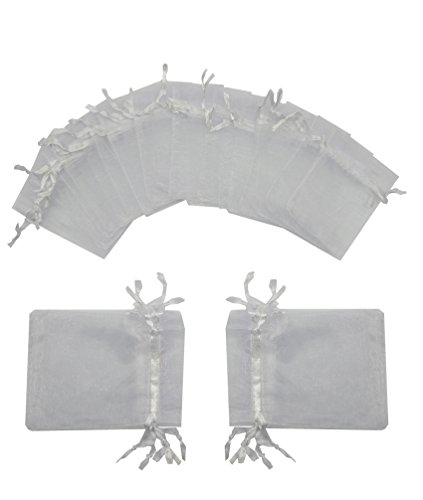 Ankirol 100pcs Wedding Favors Sheer Organza Favor Bags 2x3'' Gift Bags Samples Display Drawstring Pouches (white)