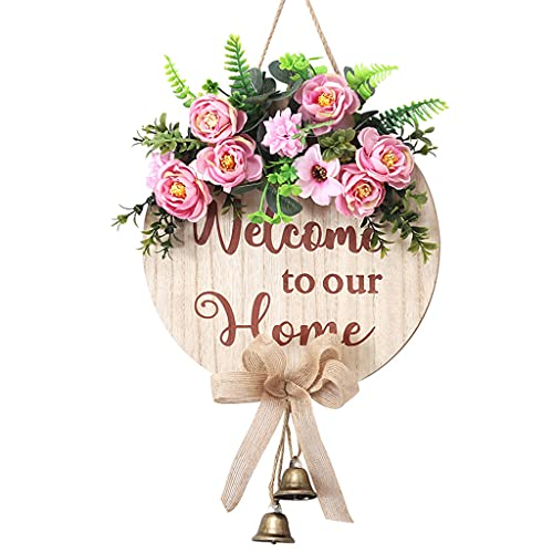 Bingxue - Letrero de felicitación con Guirnalda de Flores, Puerta de Entrada, Corona Colgante de Madera con Campana, Porche, Percha rústica para decoración de Exteriores de casa de Campo