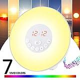 GRDE Despertador con alarma, luz nocturna - Lámpara LED Wake Up Light con Sonidos Naturales&Radio FM